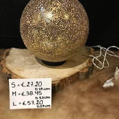 Glazen bol verlicht goud 18cm
